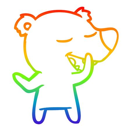 rainbow gradient line drawing of a cartoon bear