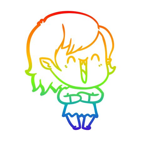rainbow gradient line drawing of a cute cartoon happy vampire girl