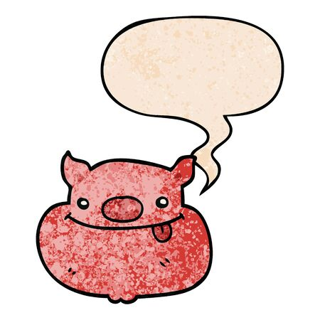 cartoon happy pig face with speech bubble in retro texture style