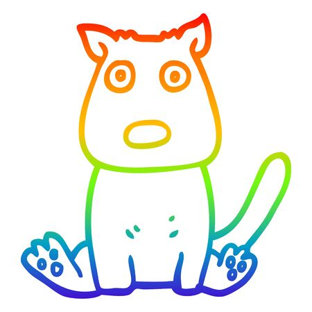 rainbow gradient line drawing of a cartoon calm dog
