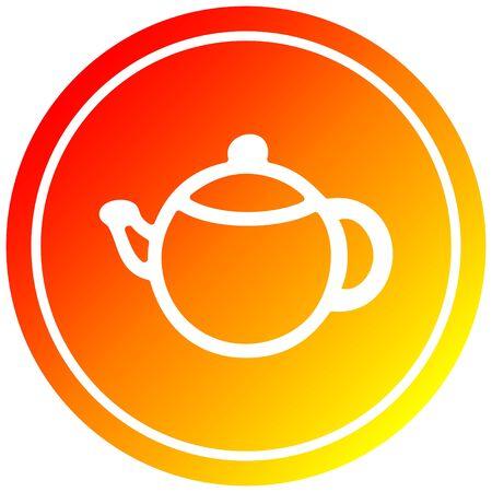 tea pot circular icon with warm gradient finish 向量圖像