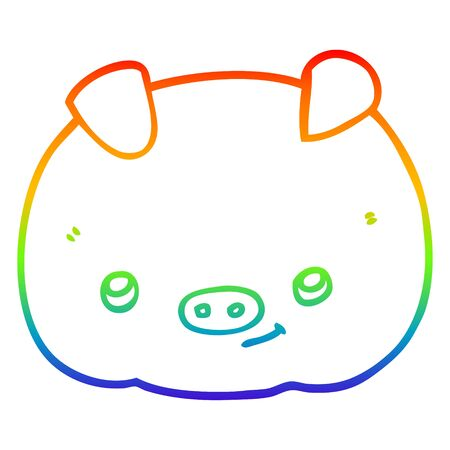 rainbow gradient line drawing of a cartoon happy pig Çizim