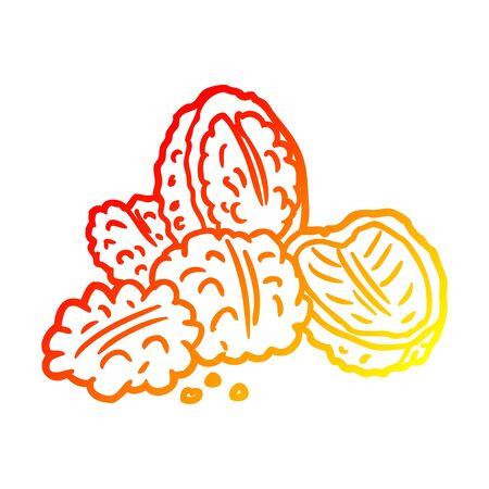 warm gradient line drawing of a walnuts Ilustração
