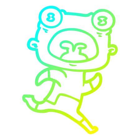 cold gradient line drawing of a cartoon weird alien running away