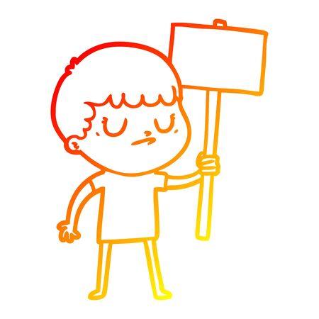 warm gradient line drawing of a cartoon grumpy boy with placard