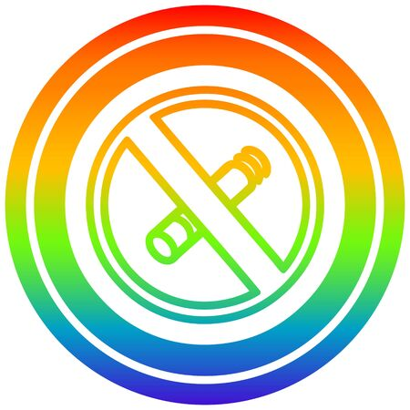 no smoking circular icon with rainbow gradient finish