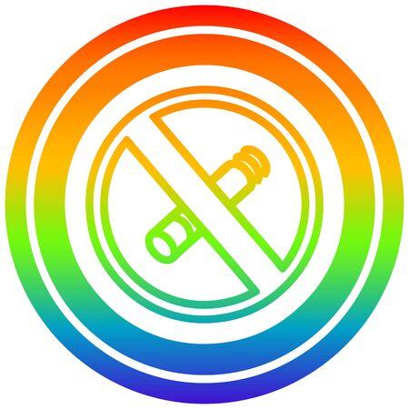 no smoking circular icon with rainbow gradient finish
