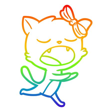 rainbow gradient line drawing of a cartoon yawning cat