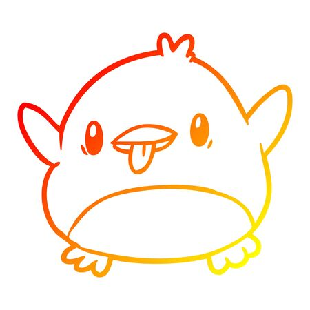 warm gradient line drawing of a cute penguin