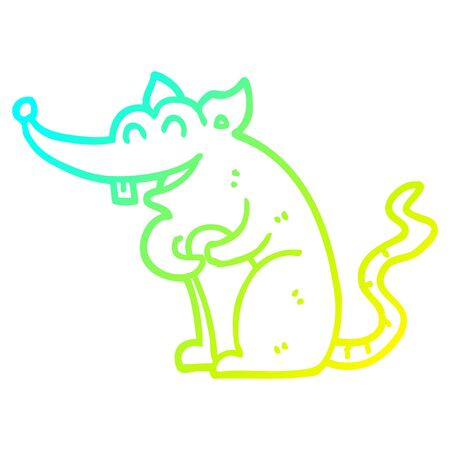 cold gradient line drawing of a cartoon rat