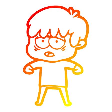 warm gradient line drawing of a cartoon exhausted boy
