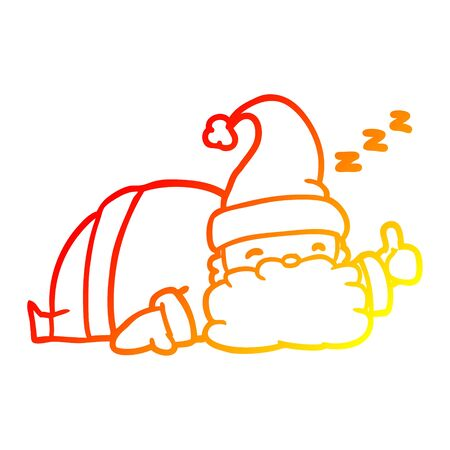 warm gradient line drawing of a sleepy santa giving thumbs up symbol 向量圖像