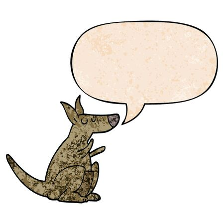 cartoon kangaroo with speech bubble in retro texture style