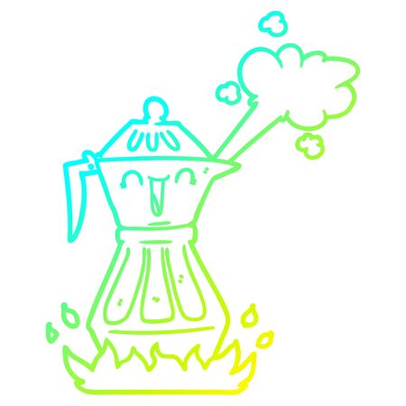 cold gradient line drawing of a cartoon coffee pot