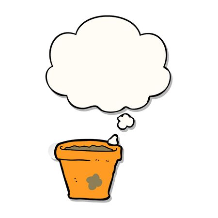 cartoon plant pot with thought bubble as a printed sticker