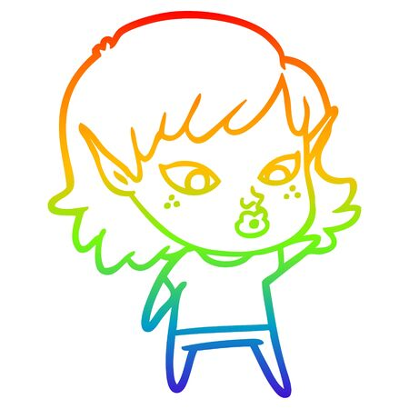 rainbow gradient line drawing of a pretty cartoon elf girl