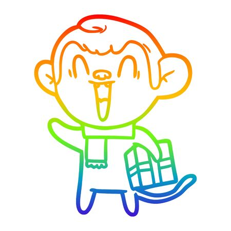 rainbow gradient line drawing of a cartoon laughing monkey