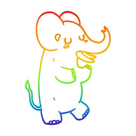 rainbow gradient line drawing of a cartoon elephant