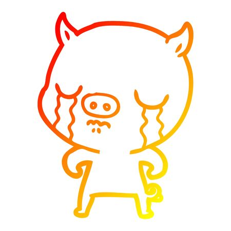 warm gradient line drawing of a cartoon pig crying Çizim