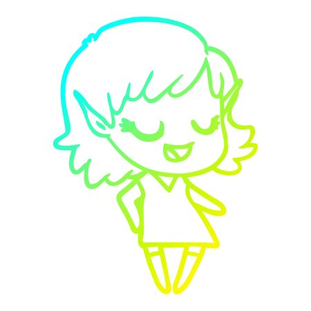 cold gradient line drawing of a happy cartoon elf girl