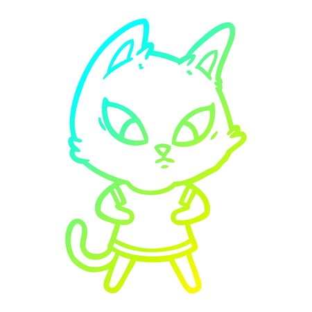 cold gradient line drawing of a confused cartoon cat in clothes