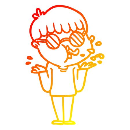 warm gradient line drawing of a cartoon boy wearing spectacles shrugging shoulders Ilustrace