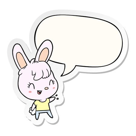 cute cartoon rabbit with speech bubble sticker