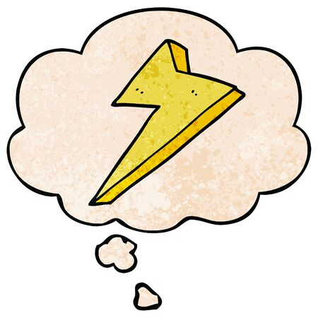 cartoon lightning with thought bubble in grunge texture style