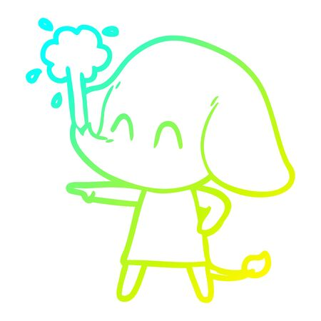 cold gradient line drawing of a cute cartoon elephant spouting water Çizim