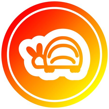 cute beetle circular icon with warm gradient finish