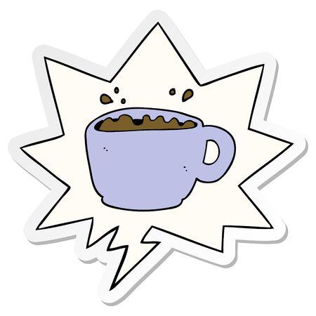 cartoon coffee cup with speech bubble sticker Illusztráció