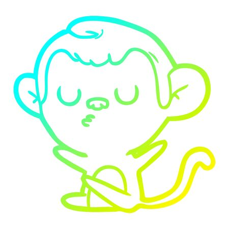 cold gradient line drawing of a cartoon monkey Çizim