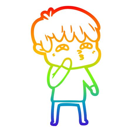 rainbow gradient line drawing of a cartoon curious man