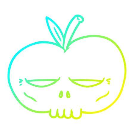 cold gradient line drawing of a cartoon spooky skull apple Illusztráció