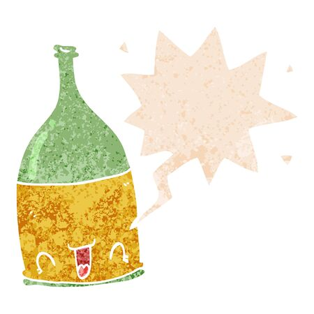 cartoon wine bottle with speech bubble in grunge distressed retro textured style