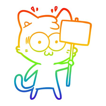 rainbow gradient line drawing of a cartoon surprised cat waving sign