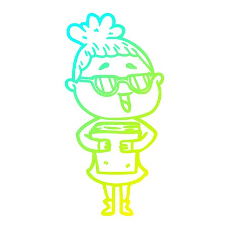 cold gradient line drawing of a cartoon happy woman wearing spectacles 일러스트