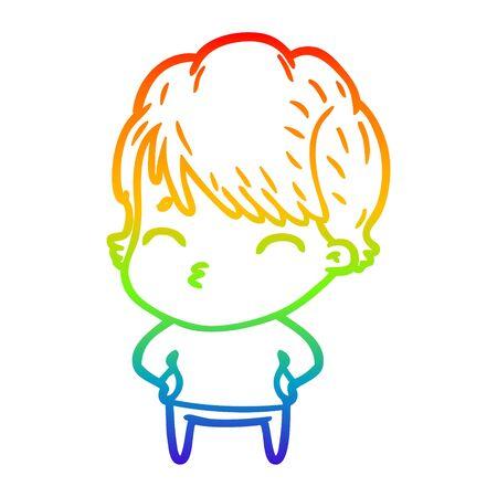 rainbow gradient line drawing of a cartoon woman thinking