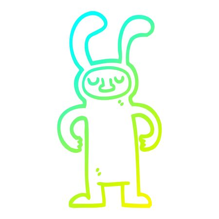 cold gradient line drawing of a cartoon man dressed as a bunny