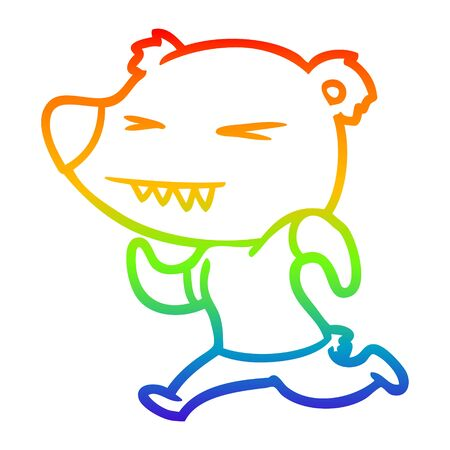 rainbow gradient line drawing of a angry bear cartoon running