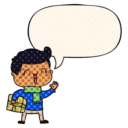 cartoon laughing boy with speech bubble in comic book style