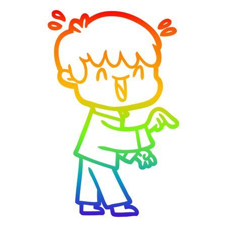 rainbow gradient line drawing of a cartoon laughing boy 일러스트