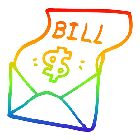 rainbow gradient line drawing of a cartoon debt bill  イラスト・ベクター素材