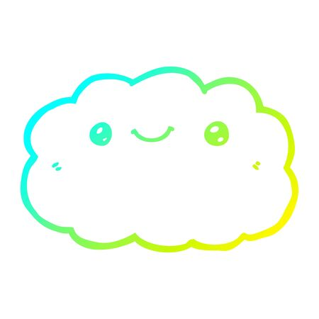cold gradient line drawing of a cartoon cloud