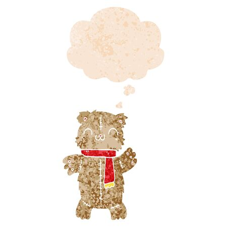 cartoon teddy bear with thought bubble in grunge distressed retro textured style