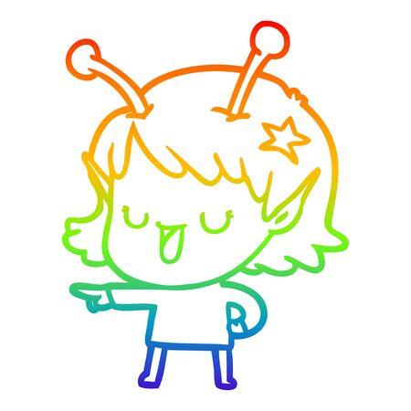 rainbow gradient line drawing of a happy alien girl cartoon