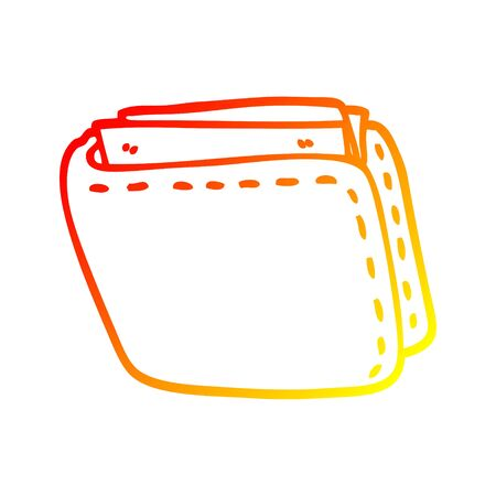 warm gradient line drawing of a cartoon old leather wallet Stock fotó - 129255467