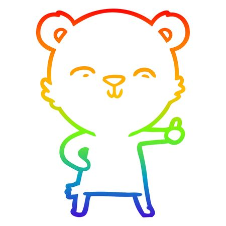 rainbow gradient line drawing of a happy cartoon bear