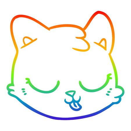 rainbow gradient line drawing of a cartoon cat face