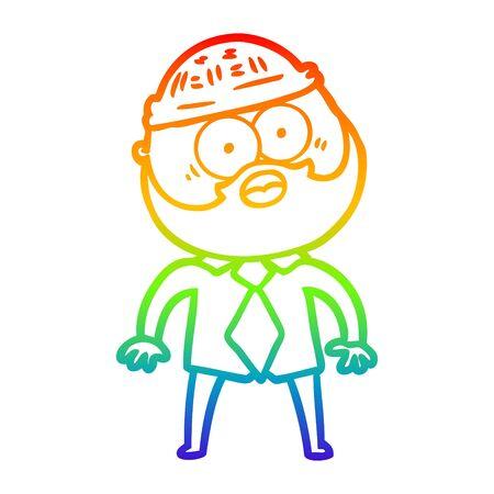 rainbow gradient line drawing of a cartoon bearded man Ilustrace
